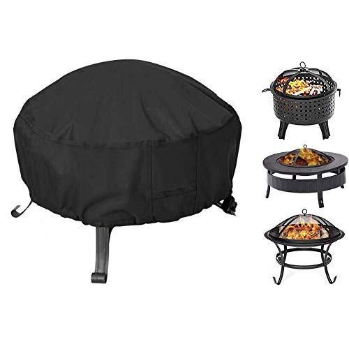 Fire Pit Cover Round, Fit for 32-36 Inch Metal Fire Pit, Waterproof Weatherproof UV All-Season Protection with Thick PVC Coating (Color : Black, Size : S-Diameter82cm/32inch)
