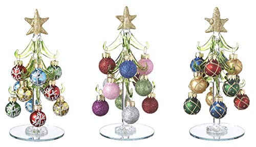 Ganz Blown Glass 6' Tall Christmas Trees with Ornaments Set of 3 EX29351