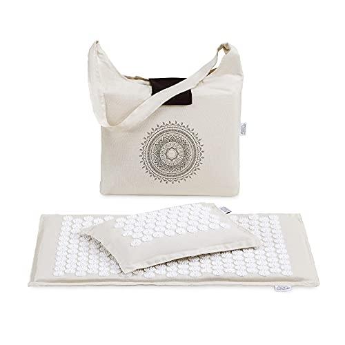 Navaris Kit de masaje de acupresión - Set ecológico 1x esterilla de acupuntura 1x almohada - Manta con pinchos para masaje de fibra de coco y trigo