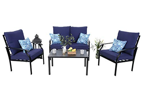 MFSTUDIO 4 Piece Outdoor Metal Furniture Sets Patio Cushioned Conversation Set with 4 Free Pillows for Home, Porch, Lawn, (Loveseat, Coffee Table, 2 Single Chair),Navy-Blue