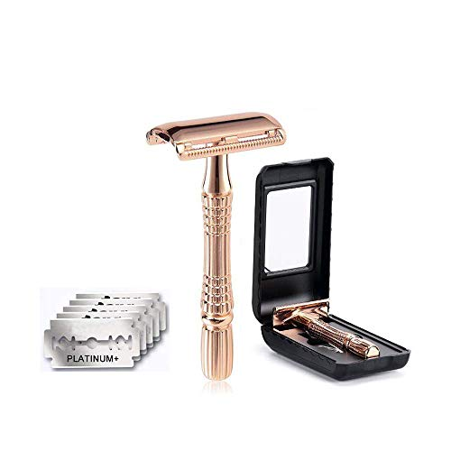 Rangale Classic 3-Piece Razor Double Edge Safety Razor Manual Shaver Rose Gold + 5 Pcs Resuable Safety Razor Blades with ABS case