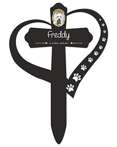 Livingstyle & Wanddesign Personalisiertes Grabkreuz mit Herz fürs Haustier, Foto und Pfoten 2 in Schwarz, klein 25 x 17,5 cm