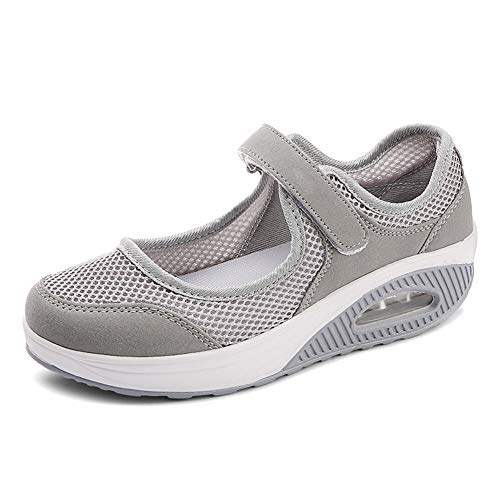 Women's Air Cushion Diabetic Walking Shoes, Adjustable Strap Mesh Mary Jane Shoes Loafers Sneakers Suitable for Elderly Womens Edema Plantar Fasciitis Swollen Feet Grey