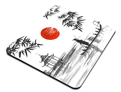 Amcove Japan Traditional Japanese Painting Sumi-e Bamboo Art Man with Boat Mousepad Non Slip Rubber Gaming Mouse Pad Rectangle Mouse Pads for Computers Laptop Photo #3