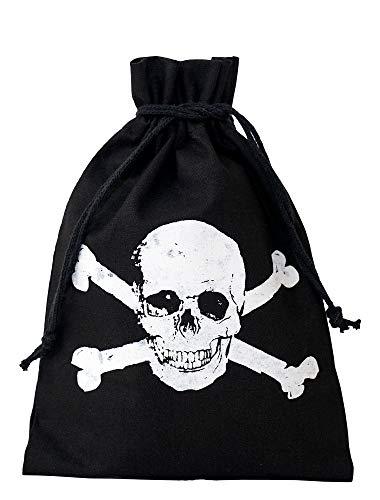 10 bolsitas negras de algodón con impreso blanco de calavera, bolsa de regalo, bolsa de Halloween, pirata, fiesta de cumpleaños, fiesta (20x12cm)
