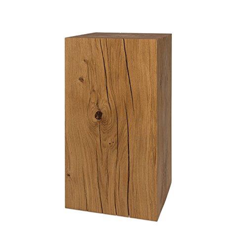 GREENHAUS Holzblock Eiche Massiv 25x25x50 cm Handarbeit und Massivholz aus Deutschland Holzklotz Hocker Beistelltisch