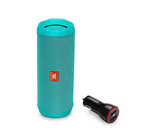 JBL Flip 4 Portable Bluetooth Wireless Speaker Bundle with Anker PowerDrive 2 2-Port USB Car Charger - Teal