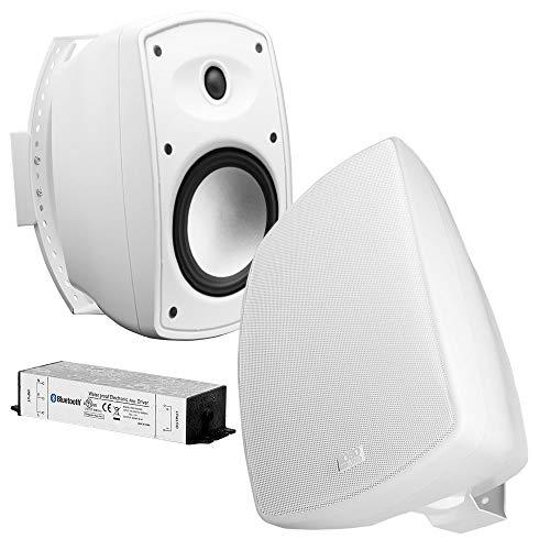 "OSD Audio 5.25"" Wireless Bluetooth Outdoor Patio Speaker Architectural Stereo Pair White BTP525 Long Range Bluetooth"