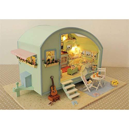3D DIY Puppenhaus Haus Handgefertigt Spielzeug Miniatur Holzhaus Möbel Zubehör Holz Puppenhaus Handwerk Miniatur Kit Voice Controller Spieluhr als Kinder Geschenk