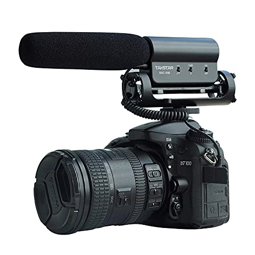 TAKSTAR External Shotgun Microphone Interview Photography Mic Lightweight Cardioid Microphone with 3.5mm Jack (Black) for Nikon Canon DSLR Camera DV Camcorder SGC-598
