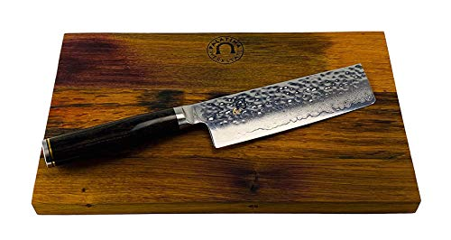 Kai SHUN Premier Tim MÄLZER | NAKIRI ultrascharfes Japan Damastmesser 14 cm TDM-1742 | + massives Schneidebrett aus Fassholz 25x15 cm (Eiche) | VK: 255,- €