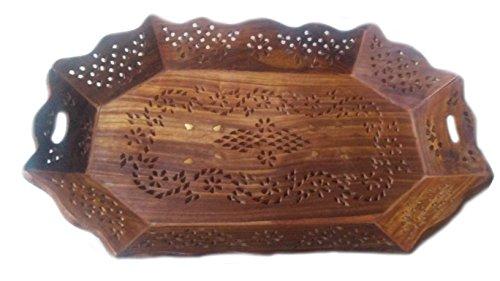 IndiaBigShop Holz handgefertigte dekorative Vintage Look Tabletts für Tee, Kaffee,...