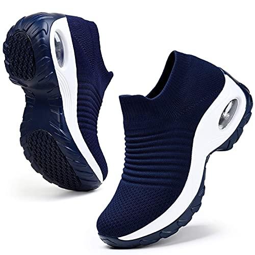 HKR Donna Scarpe da Ginnastica Running Sportive Ortopediche Comode Memory Foam Fitness Jogging Sneakers Respirabile Mesh Tennis Blu Scuro EU 40.5