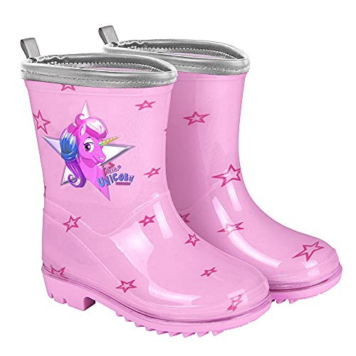 PERLETTI Botas de Agua para Niña Unicornio - Botines Impermeables de Moda Rosa con Estrellitas - Suela Antideslizante y borde Plateado Iridiscente - Cool Kids (Rosa, 22)