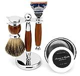 Set de afeitado manual para hombre + cepillo de melena + cuenco de jabón + jabón de afeitar + jabón de afeitar