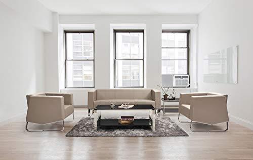 HABITMOBEL Sofá de diseño 2 plazas, Piel Regenerada Beige