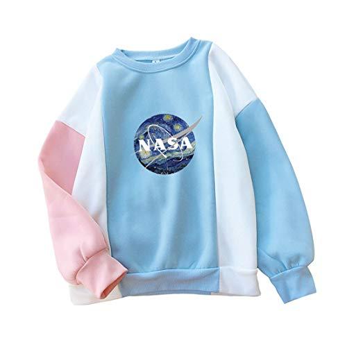 Damen Langarmshirt Rundhals Sweatshirt Locker Frauen Tops Shirt NASA Pullover Oberteil College Jumper Pulli Patchwork Sport Bluse (M, blau)