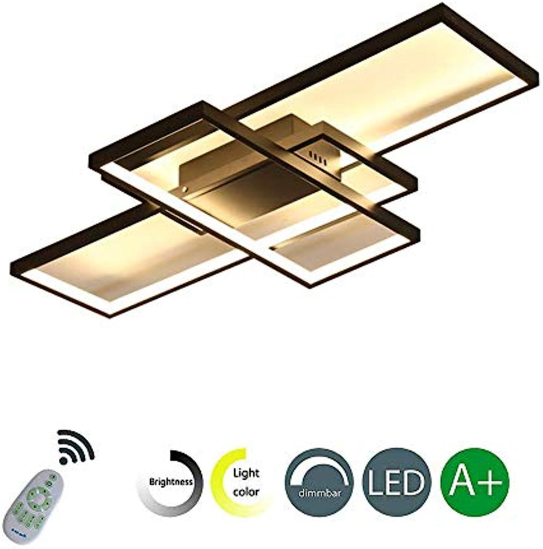 JiesenAN Dimmbar LED Deckenleuchte Deckenlampe Modern Ring Rechteck Design Decken Kronleuchter für Schlafzimmer Wohnzimmer Esszimmer Studio Beleuchtung mit Fernbedienung,105  60cm