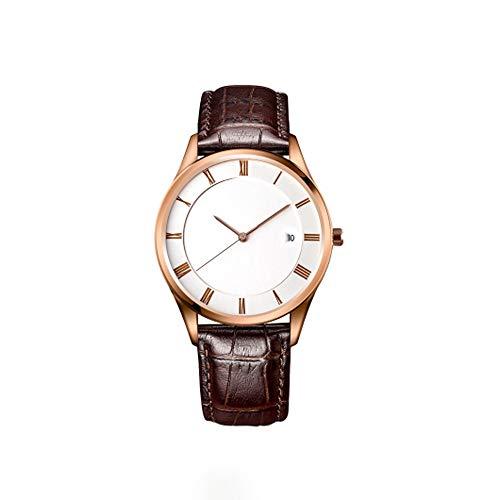 Withou Cuero de los Hombres Reloj de la Correa, Casual Delgado Retro Reloj del Calendario de Negocios, Reloj mecánico con Esfera Blanca Pantalla analógica y la Correa de Cuero de Brown