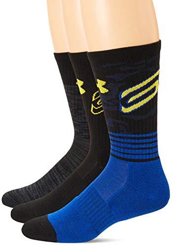 Under Armour Men's Phenom Curry Crew Socks, 3-Pairs , Blue , Medium