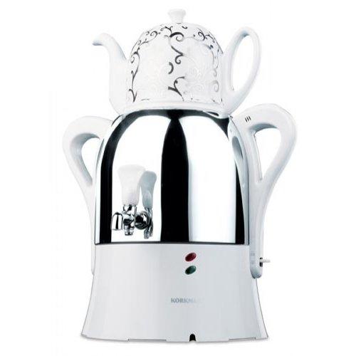 Korkmaz A342 Caykolik Semaver Samowar Teemaschine Tee Caydanlik Teekanne Weiß