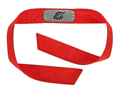 CoolChange Naruto Ninja Stirnschutz, Konoha Stirnband, Rotes Stoffband, Metallplatte mit Konohagakure Wappen