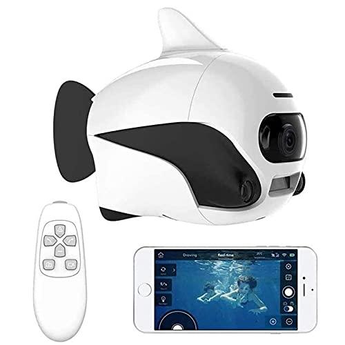 Drone submarino, Supprot Control remoto inalámbrico sumergible, con cámara HD de 4K, conexión WiFi Diseño biónico Perfil de peces PET en Pools Lagos, con cámara para visualización en tiempo real, apli