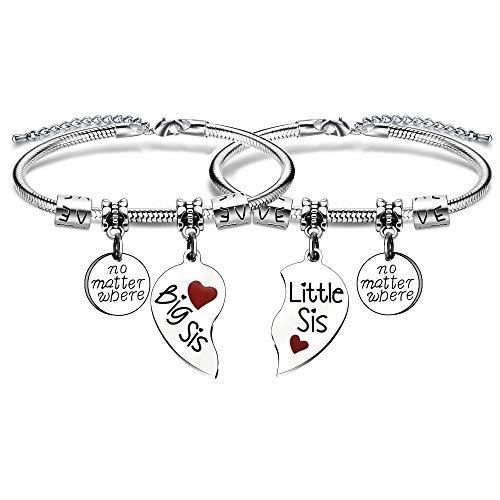KENYG 2 Stück gebrochene Herzform Anhänger Big Sis Little Sis Frauen Charm Schlangenarmband für Schwester oder beste Freunde (rot)