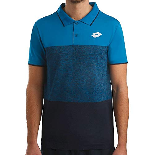 Lotto Polo Tech SML pour Homme, Bleu foncé, Bleu, L