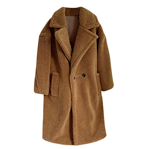 KPILP Damen Teddymantel Parka Lange Winter Mantel Jacke Fleece Elegant Trenchcoat Cardigan Gefüttert Kuscheliger Fleecemantel mit Revers und Taschen