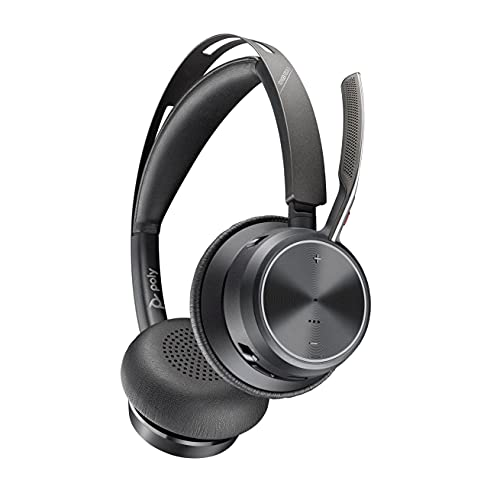 Poly - Voyager Focus 2 UC USB-C Headset (Plantronics) - Bluetooth Dual-Ear (Stereo) Headset with Boom Mic - USB-C PC/Mac Compatible - Active Noise Canceling - Works with Teams, Zoom (Certified) & More