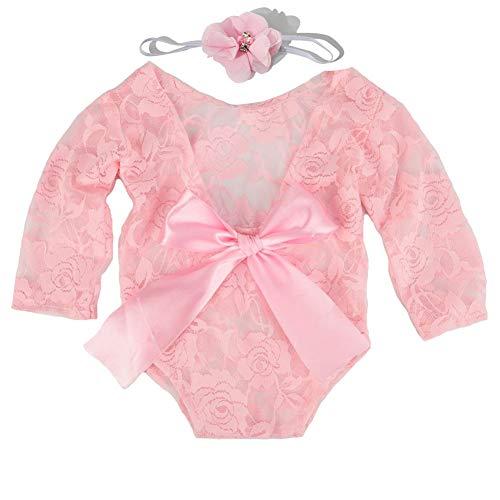 iSpchen Baby Newborn Fotografie Requisiten, 2 Stück Baby Infant Spitze Strampler Foto Requisiten, Spitze Bodysuit + Haarband, Rosa