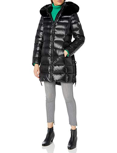 1 Madison Women's Long Winter Coat with Fox Fur Trimmed Hood, Black, Small