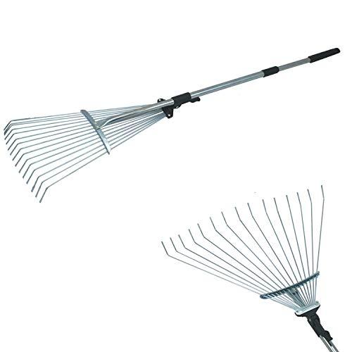 Megaprom Teleskop Laubbesen mit Stiel | Fächerbesen | Gartenrechen | Gartenbesen | Laubrechen - 80-165cm verstellbar