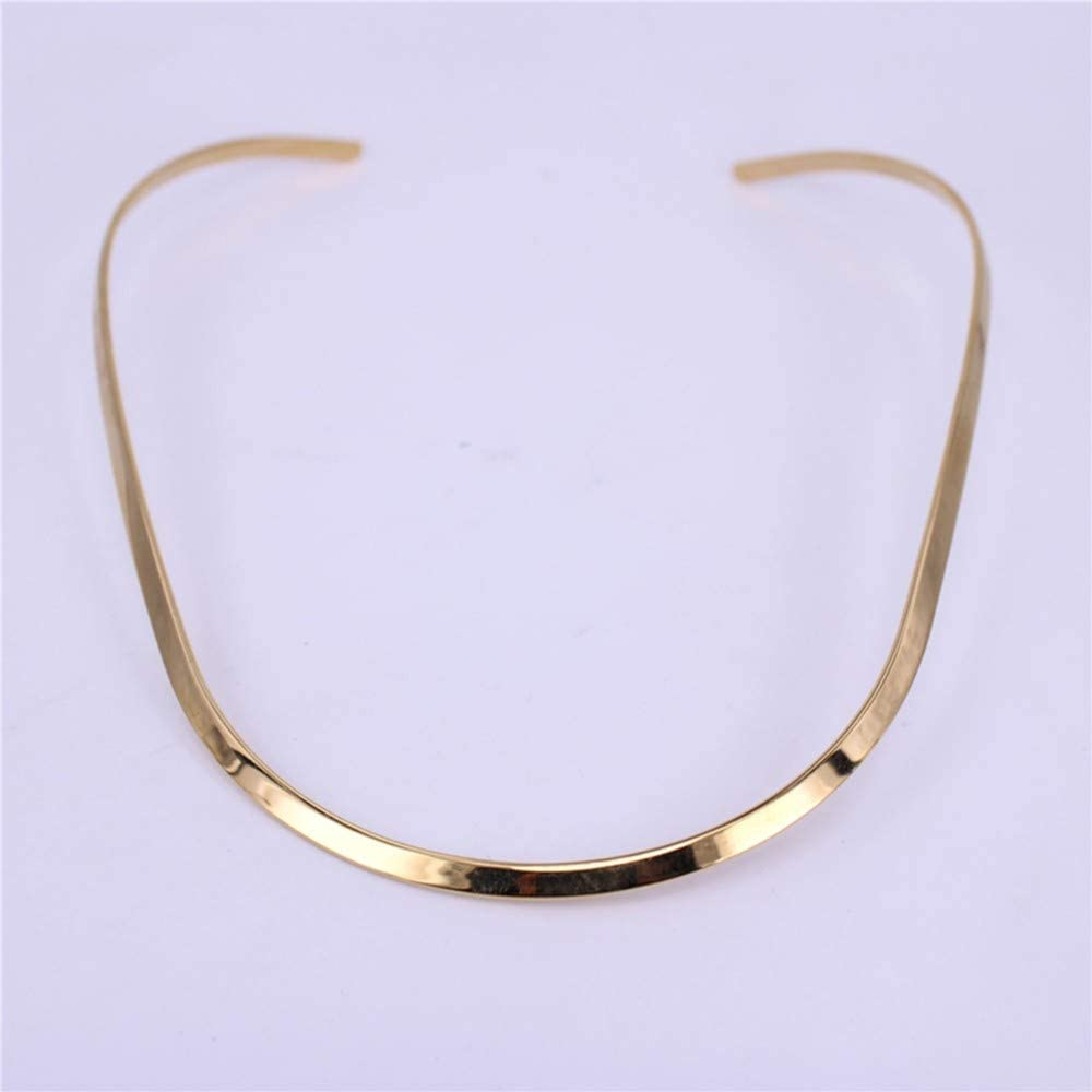 ZIMAwd 4mm Wide Stainless Steel Necklace Collar Accessories Adjustable Ladies Necklace Gold 1Pcs