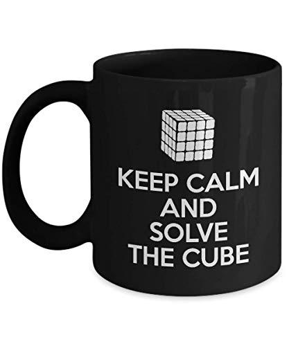 N\A Divertida Taza de café Negro con Cubo de Rubik, mantén la Calma y Resuelve el Regalo de Sarcasmo Inspirador único para el Jugador de Rubik, Hombres, Mujeres