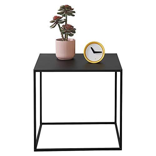 [en.casa] Konsolentisch Beistelltisch 50x55x55 cm Wohnzimmertisch Industrie-Design Metall Schwarz