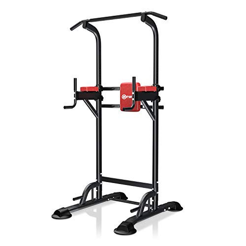ZENOVA Power Tower Pull Up Bar Station - Dip Stand Pull up Tower Height Adjustable Strength Training Equipment for Whole Body Workout