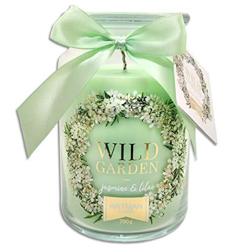 Wohnkult Duftkerze 700 g im Glas 8 Düfte Duftwachs 130 Std. Brenndauer Geschenk Kerze (Wild Garden Jasmine & Lilac/Yasmin & Flieder-Duft)