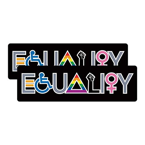 2-Pack Equality Bumper Sticker Decal, Love is Love Decal-Equality Banner, Decals for Laptop Car Bumper Window Decorations,Vivid Color and UV Fade Resistant 7.8×2.4'
