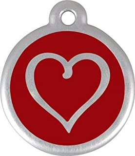 Red Dingo QR Collar Tag, Heart, Large, Red