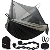 Hammock Camping with Net/Netting, Portable Camping Hammock Double Tree Hammock Outdoor Indoor Backpacking Travel & Survival, 2 Tree Straps (16+1 Loops Each, 20Ft Total)