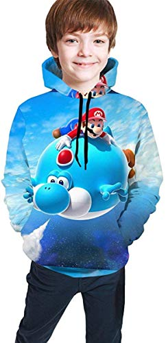 Meethee Sudadera Juvenil con Capucha Super Mario Bros Games Teen Long Sleeve Hooded Sweatshirt for Boys and Girls