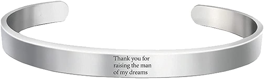 Motivational Thank You for Raising The Man of My Dreams Cuff Bracelets for Women Girls Strength Gifts Stainless Steel Bangle Open Bracelet Hidden Message Inspirational Graduation Birthday Jewelry