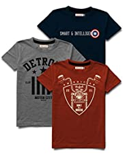 HELLCAT Printed Round Neck Cotton Tshirt for Boys - Combo Pack of 3