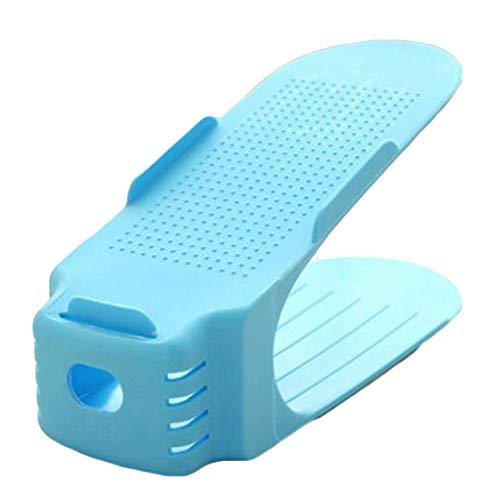 Mingtongli Einstellbarer Schuh-Organisator-Sneaker High Low Heels Flats Sandalen Doppelschuhregal Speicher-Halter, Blau