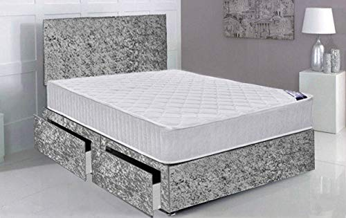 Gray Velvet Single Divan Bed with Foam Mattress and Free Headboard 90cm x 190cm(3FT with 2 Storage Drawers (Same Side))