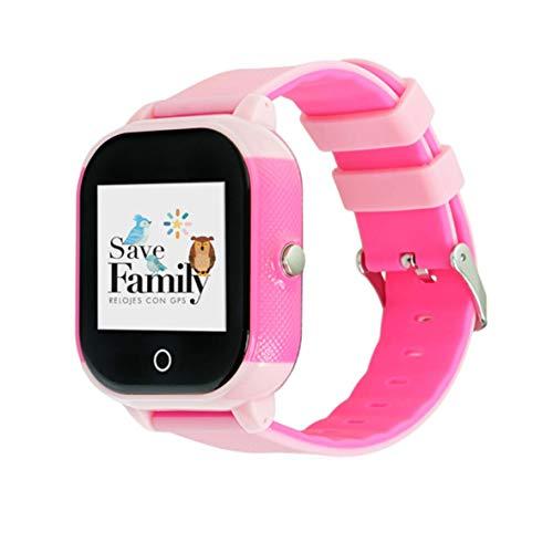 Reloj con GPS para niños Save Family Modelo Junior Acuático IP67. Smartwatch Juvenil. Botón SOS, Anti-Bullying, Chat Privado, Modo Colegio, Llamadas y Mensajes. App Propia. Incluye Cargador. Rosa.