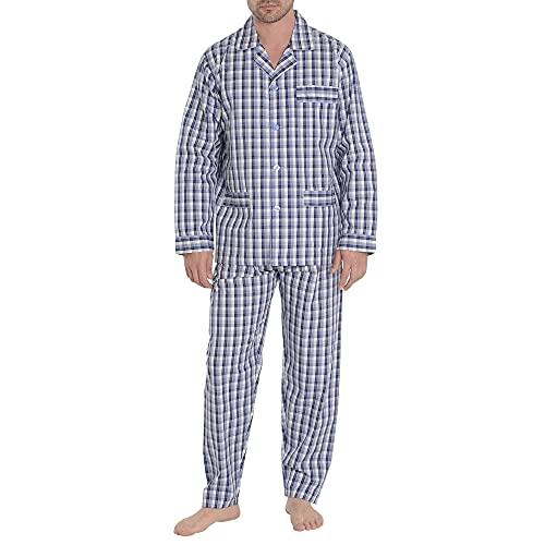 El Búho Nocturno - Pijama Hombre Largo Solapa Popelín Cuadros Azul Oscuro 100% algodón Talla 4 (L)