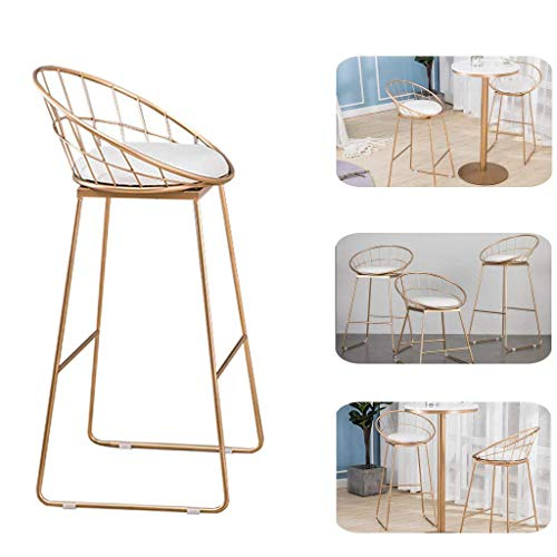 N/Z Daily Equipment Chaise 65Cm (26') Bar Stools Low Back Upholstered Seat and Metal Footrest Counter Chair Modern Design Bar Chair Stool Bistro Stool with Gold Metal Base High 65cm